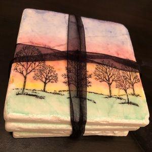 NWOT Pastel Trees Stone Coasters Set of 4